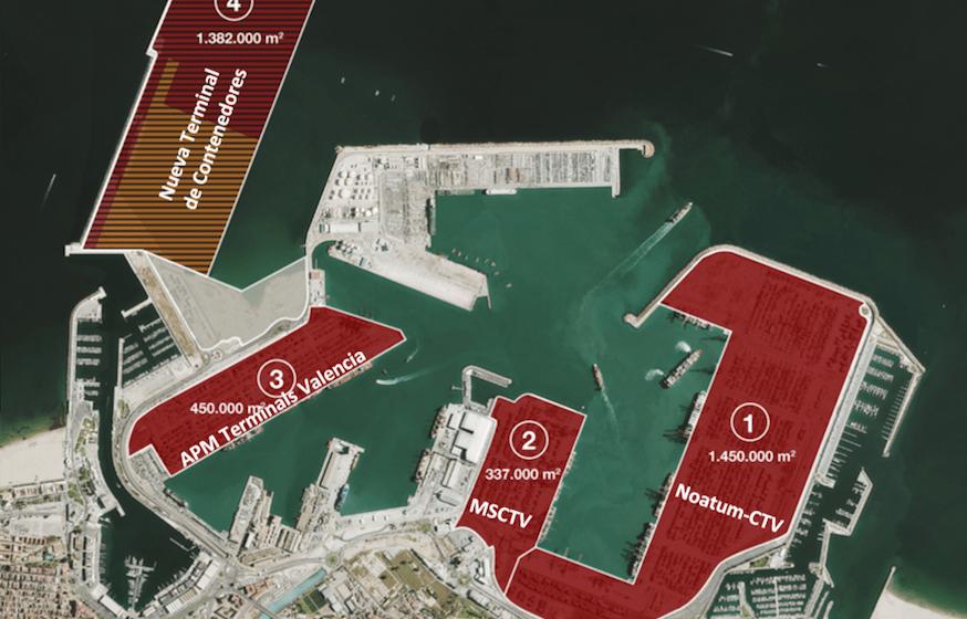 Ubicación de las terminales de contenedores del puerto de Valencia