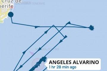 """El gráfico muestra la evolución de las maniobras del buque """"Ángeles Alvariño"""""""