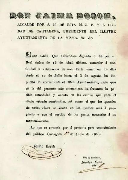 Bando del alcalde de Cartagena