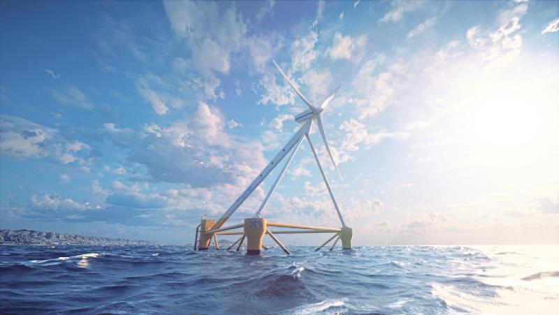 """Este seré al aspecto final y disposición de la plataforma eólica marina """"X1 Wind"""""""