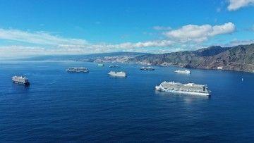 Panorámica de la zona de fondeo del puerto de Santa Cruz de Tenerife