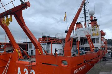 """El BIO """"Hespérides"""", durante su estancia en el puerto de El Musel"""