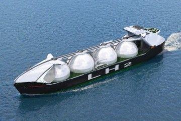 Boceto del buque de transporte de hidrógeno licuado de KHI