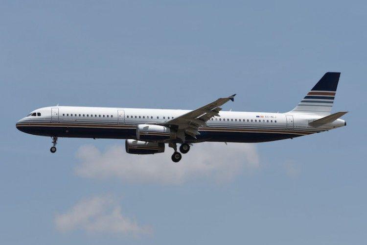 El primer avión A321 de Privilege Style, en su aproximación al aeropuerto de Madrid Barajas