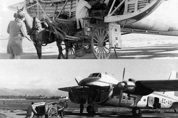 Dos instantáneas de las operaciones de handling en Son Bonet (c. 1950)