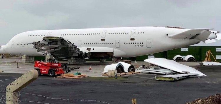 Estado en el que se encuentra el desguace del primer A380 de Air France