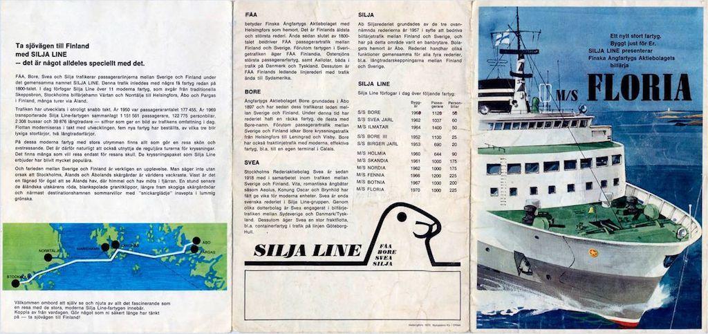 """Itinerarios del ferry """"Floria"""" en su etapa finlandesa"""