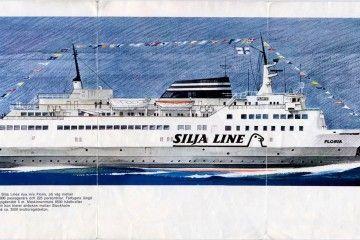"""Dibujo de las lineas marineras del ferry finlandés """"Floria"""", visto por la banda de estribor"""