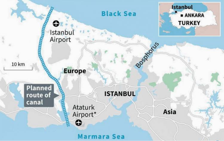 Trazado del proyectado canal alternativo al estrecho del Bósforo