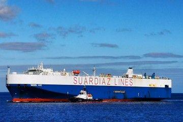"""El buque car carrier """"Mosel Ace"""", ayer, en el puerto de Santa Cruz de Tenerife"""