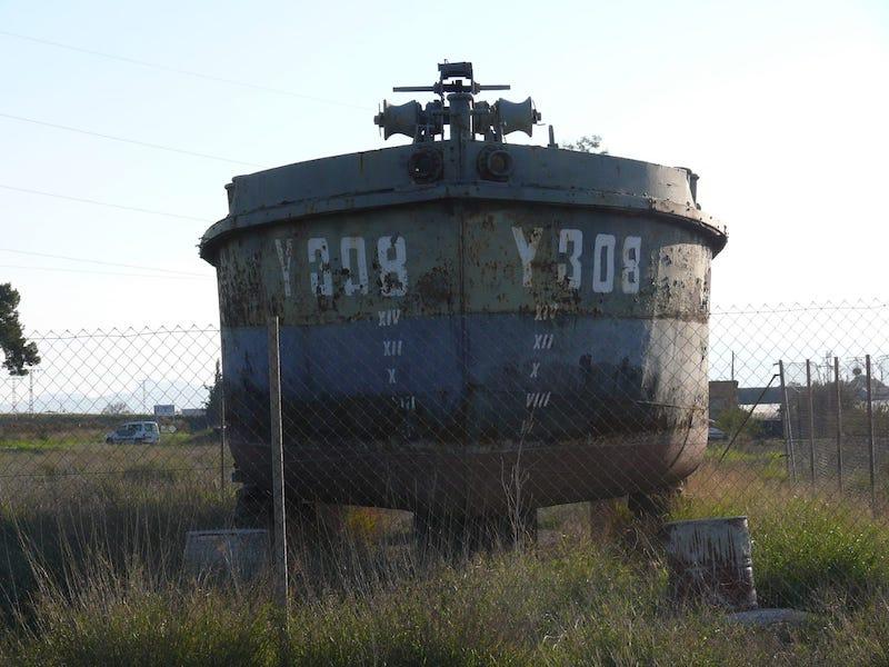 Vista de proa de la gabarra Y-308