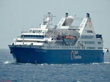 """El buque """"Ocean Diamond"""", a su salida del puerto de Las Palmas de Gran Canaria"""