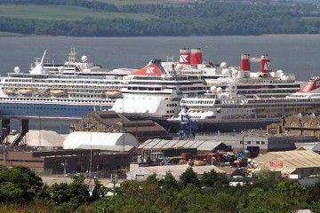 Los cuatro buques de Fred. Olsen Cruise Line, amarrados en Rostyh