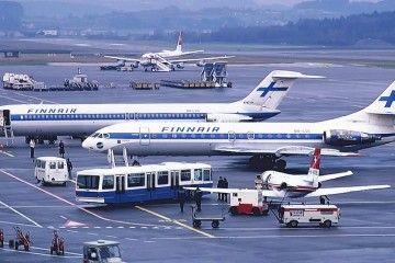 Douglas DC-9 y Caravelle de Finnair en el aeropuerto de Zurich (1981)