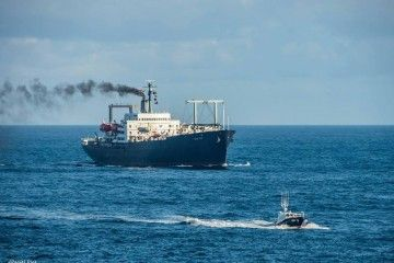 """El buque-escuela """"Empire State"""", a su llegada esta mañana al puerto de A Coruña"""