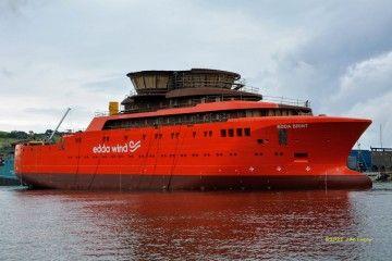 """El buque SOV """"Edda Brint"""", tras su puesta a flote"""