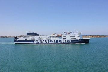 """La imagen corporativa del buque """"Corfu"""" nos traslada cuál será la imagen corporativa de Grimaldi Trasmed"""