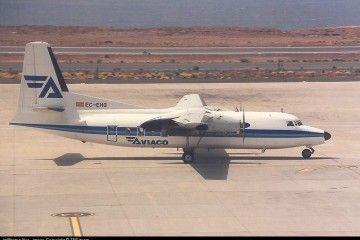 El último avión Fokker F-27 de Aviaco, en Tenerife Sur