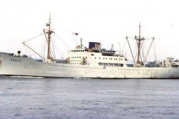 """Elegante estampa marinera del buque frutero noruego """"Bonzo"""""""