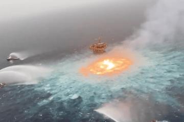 Especptacular imagen del incendio provocado por la rotura de la línea submarina