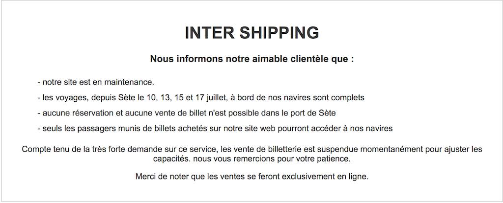 No es posible el acceso a la web de Intershiiping