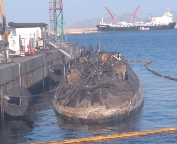 """Estado en el que se encuentra el desguace del submarino """"Siroco"""""""